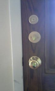 The back of the door of the Keyless entry deadbolt lock