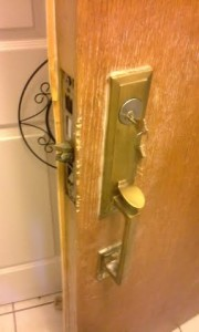Here is the mechanism and the lock installed on the front of the door.