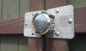 Here is the new Shackle Padlock installed on the storage unit door.
