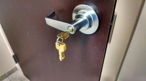 Here are the master keys on the Lever commercial handle lock after I completed the work.